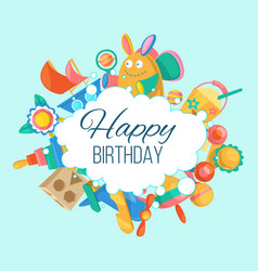 Toy set for baby birthday card banner vector