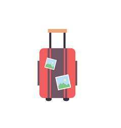 travel suitcase wiht stickers - travel luggage vector image