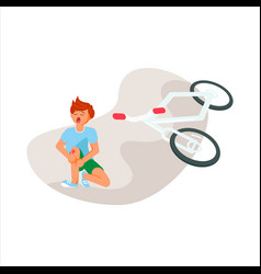 Unhappy boy after a bicycle accident vector