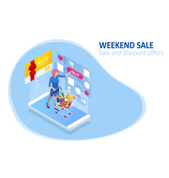 Weekend sale and discount offers online shopping vector