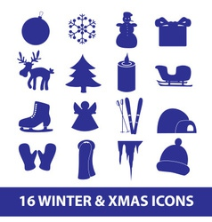 winter and xmas icon collection eps10 vector image