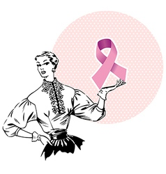 Woman holding Breast Cancer Ribbon vector image