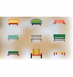 Wooden park benches set vector
