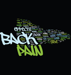 Z side effects of back pain text background word vector