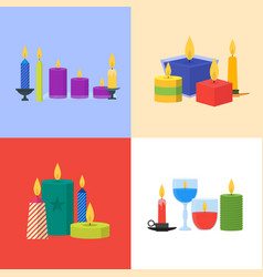 cartoon candles banner card set vector image