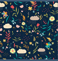 floral pattern with flowers leaves and clouds vector image vector image