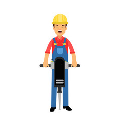 male construction worker character holding vector image