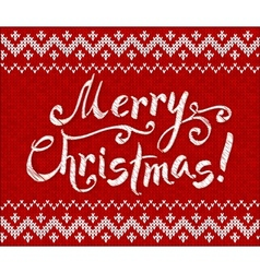 Merry Christmas knit on red background vector image vector image