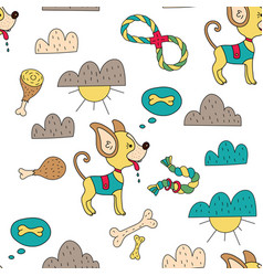 Seamless pattern with funny dog vector