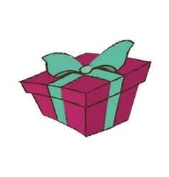 color gift box ribbon bow party sketch vector image vector image