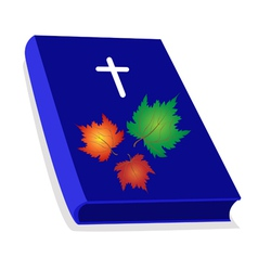 Holy Bible with Wooden Cross and Maple Leaves vector image vector image