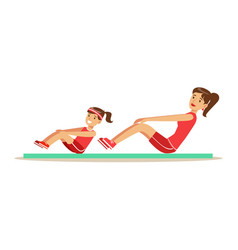 smiling woman and girl doing pull ups for abs on vector image