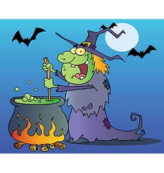 Ugly Witch Preparing A Potion vector image
