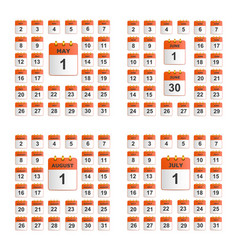 universal set of wall calendar vector image vector image