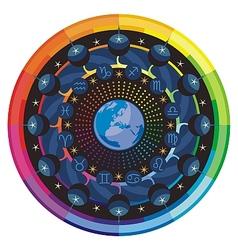 Earth and Zodiac Signs Mandala vector image vector image