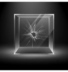 Empty Transparent Broken Crack Glass Box Cube vector image