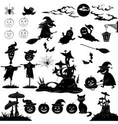 Halloween cartoon set black silhouette vector