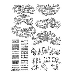 set hand-drawn floral elements ribbons for vector image vector image