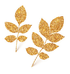 Golden glitter leaves isolated on white background vector image