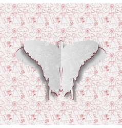 Greeting card with paper butterfly on the hand vector image vector image