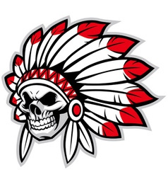 indian skull chief vector image vector image