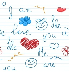 Love doodle note background vector image vector image