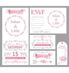 Watercolor wedding invitation setPinkswirling vector image vector image