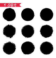 1 set of round black stickers ink blots isolates vector image