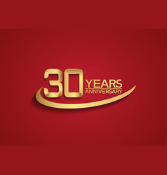 30 years anniversary logo style with swoosh vector