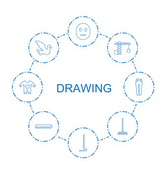8 drawing icons vector