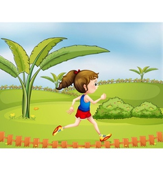 A girl exercising in the park vector