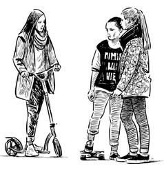 A sketch teen girls talking on a stroll vector
