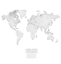 Abstract world map with low poly gray vector