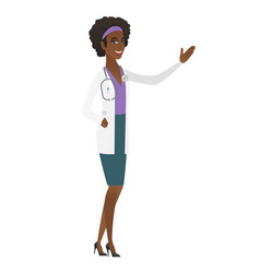 African-american doctor showing a direction vector