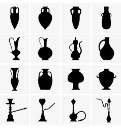 Amphoras jugs vases hookahs vector
