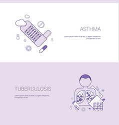 Asthma and tuberculosis diseases concept template vector