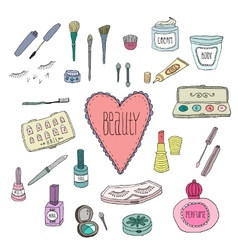 Beauty and cosmetics icons doodles vector