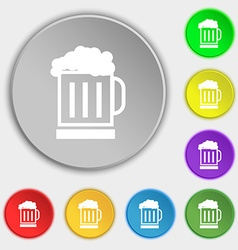 Beer glass icon sign Symbol on eight flat buttons vector image