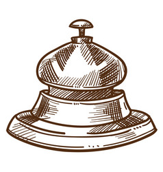 bell from reception desk isolated sketch hotel vector image