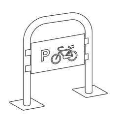 Bicycle parking icon in outline style isolated on vector image