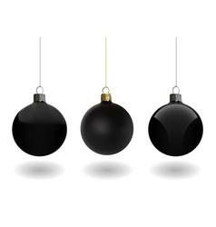 black christmas ball set vector image