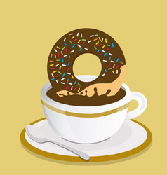 black coffee cup with donut vector image