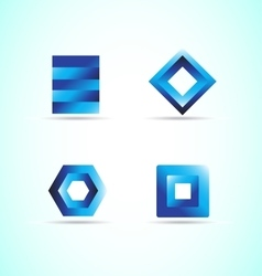 Blue logo design elements icon set vector image