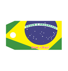 brazil flag on price tag with vector image