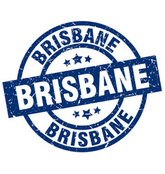 Brisbane blue round grunge stamp vector