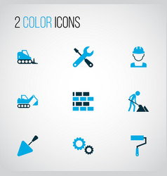 building icons colored set with excavator wall vector image