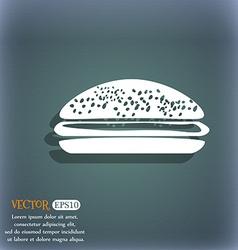 Burger hamburger icon On the blue-green abstract vector image
