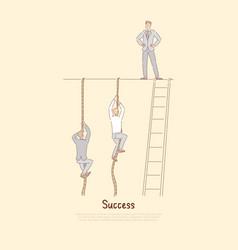 businessman standing on top wall men climbing vector image