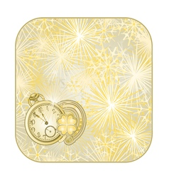 Button square New Year fireworks with watches vector