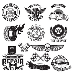 car servise labels vector image
